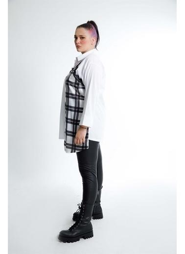 Luokk Zıa  Dantel Ve Saten Detaylı Cepli Ekose Kadın Gömlek Beyaz Beyaz